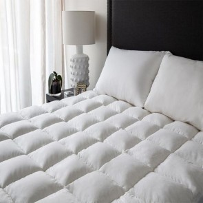 White 1000gsm Deluxe Mattress Topper With Soft Cover and Squared Quilting by Renee Taylor