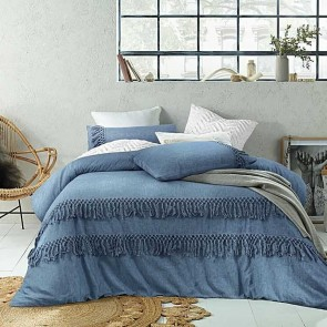 Boho Tassel Linen Cotton Quilt Cover Set by Accessorize