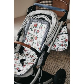 Reversible Botanical/Navy/White Gingham stroller seat liner by Oi Oi