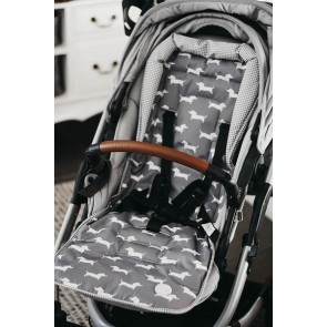Reversible Sausage Dog/Grey/White Gingham stroller seat liner by Oi Oi