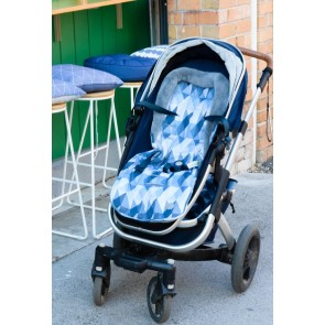 Reversible Blue Morgan/Poly fleece stroller seat liner by OiOi
