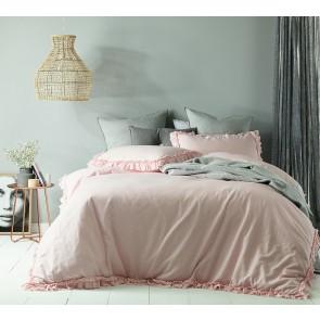 Maison Blush Linen Cotton King Quilt Cover Set by Accessorize