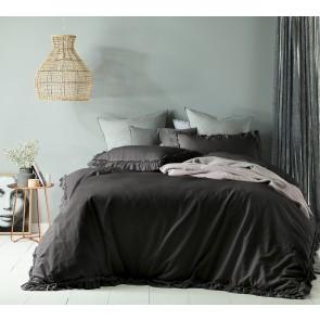 Maison Slate Linen Cotton Single Quilt Cover Set by Accessorize