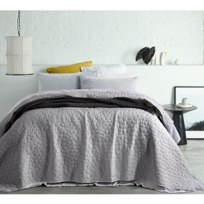 Pebble Silver Vintage Washed Microfibre Queen Coverlets by Accessorize
