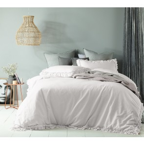 Maison White Linen Cotton Double Quilt Cover Set by Accessorize