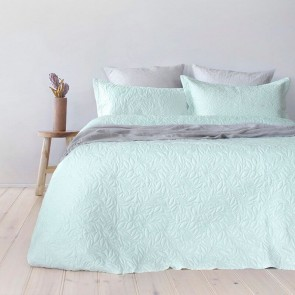 Embossed Botanica Coverlet Set by Bambury  Glacier