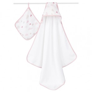 Aden Anais Heartbreaker Hooded Towel and Washcloth Set