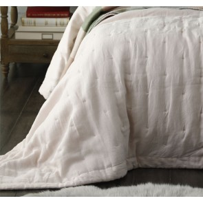 Laundered Linen Super King Bedspread Set Blush by MM Linen