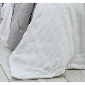 Laundered Linen Super King Bedspread Set White by MM Linen