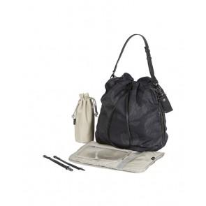 Drawstring Tote Nappy Bag Protea Black/Grey by Oi Oi