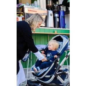 Reversible Blue Morgan/Poly fleece stroller seat liner by Oi Oi