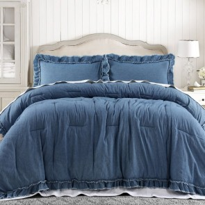 Frayed Edge Denim 3 Piece Queen Comforter Set by Vintage Design