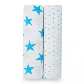 Fluro Blue 2-pk Swaddle by Aden and Anais cs