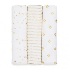Metallic Gold 3 Pack Classic Swaddles by Aden and Anais