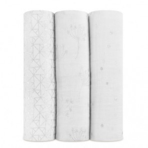 Metallic Silver Deco 3-pack Classic Swaddles by Aden and Anais