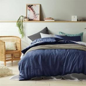 Indigo 100% Linen Quilt Cover Set by Vintage Design