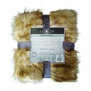 Esbeda Faux Fur Throw Siberian Sable by Bella Russo