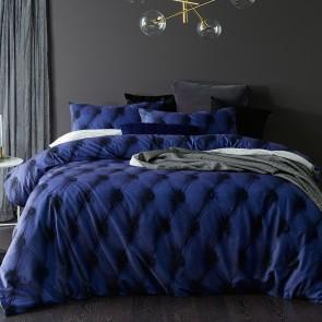Blue Buttons Printed Cotton Velvet Quilt Cover Set by Vintage Design
