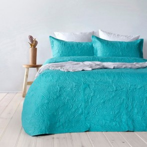 Paisley Embossed Peacock Coverlet Set by Bambury