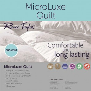 600GSM Microluxe Quilts Soft Cover and Microfiber Filling by Renee Taylor