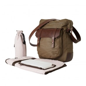 Canvas Leather Upright Satchel by OiOi