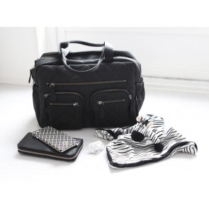Carry All Black Quilted Nappy Bag by Oi Oi