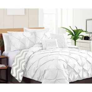 7 Piece Pinch Pleat Comforter Set by Kingtex