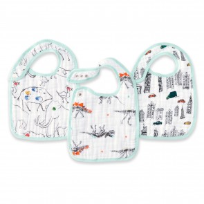 Colour Pop 3-Pack Classic Muslin Snap Bibs by Aden and Anais