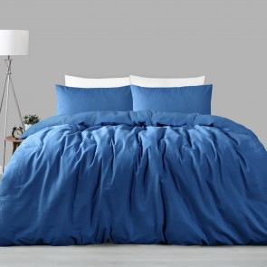 Ocean Blue Linen Cotton Double Quilt Cover Set by Accessorize