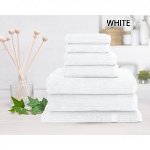 7 Piece 100% Linen Cotton Ribbed Bath Towel Set by Shangri-la