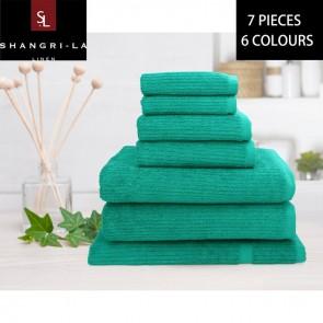 14 Piece 100% Linen Cotton Ribbed Bath Towel Set by Shangri-la