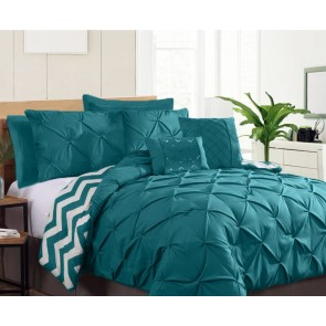 7 Piece Pinch Pleat King Comforter Set by Kingtex