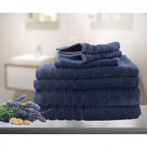 7pc Soft Egyptian Cotton Bath Towel Set in Navy