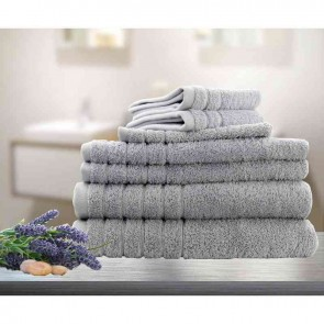 7pc Soft Egyptian Cotton Bath Towel Set in Silver