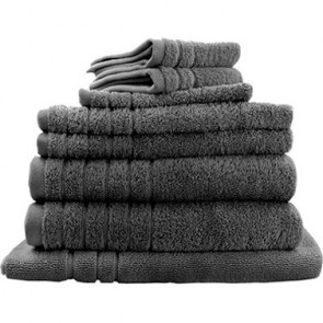 8pc Soft Egyptian Cotton Bath Towel Set in Charcoal
