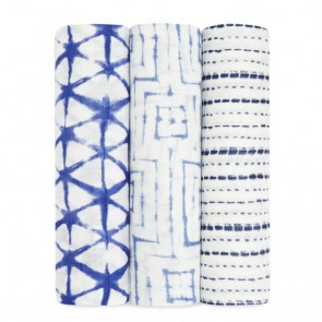 Indigo Shibori 3-Pack Silky Soft Swaddles by Aden and Anais