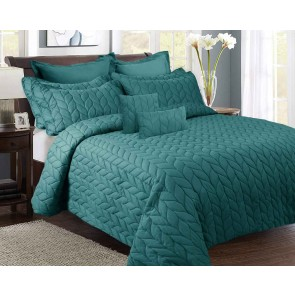 9 Pieces Ultrasonic Queen Comforter Set by Kingtex
