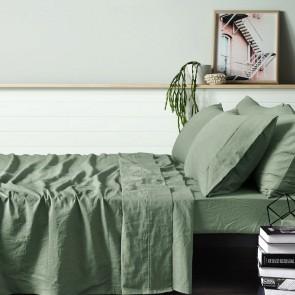 Sage 100% Linen Quilt Cover Set by Vintage Design