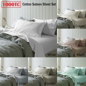 1000TC Cotton Sateen Queen Sheet Set by Accessorize