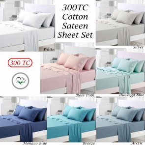 300TC Cotton Sateen Sheet Set by Accessorize
