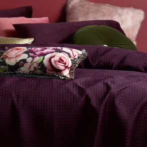 Coco Purple Velvet 3 Piece Queen Coverlet Set by Accessorize