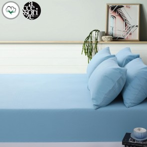 B;lue Cotton Flannel Fitted Sheet