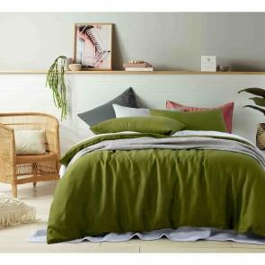 Mossy Green 100% Linen Quilt Cover Set