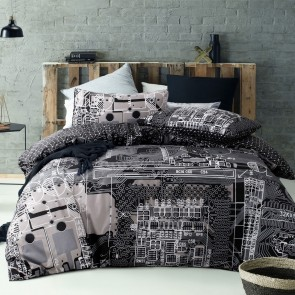 Computer Power Silver Quilt Cover Set by Accessorize