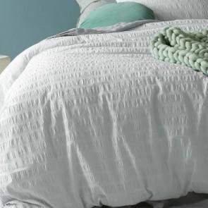 White Seersucker Cotton Quilt Cover Set by Accessorize