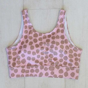 Active Crop Longline Blush Dot Small by Escape To Paradise