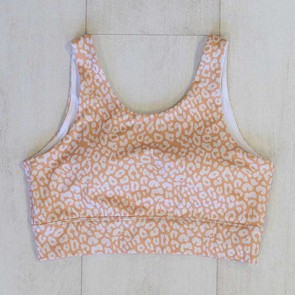 Active Crop Longline Peach Leopard Small by Escape To Paradise