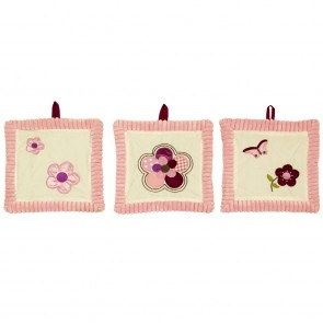 Raspberry Garden 3 Piece Wall Hanging by Amani Bebe