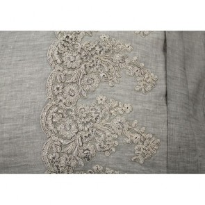 Antique Grey Lace Embroidered 100% Linen Quilt Cover Sets by Vintage Design