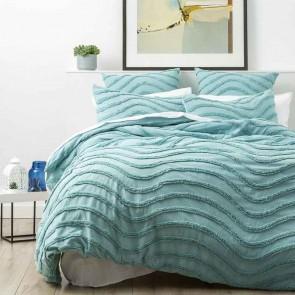 Aqua 100% Cotton Wave Chenille Vintage washed tufted Quilt cover Set
